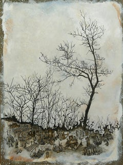 """December"", Trees and Human in Nature, Drawing and Watercolors on Paper"