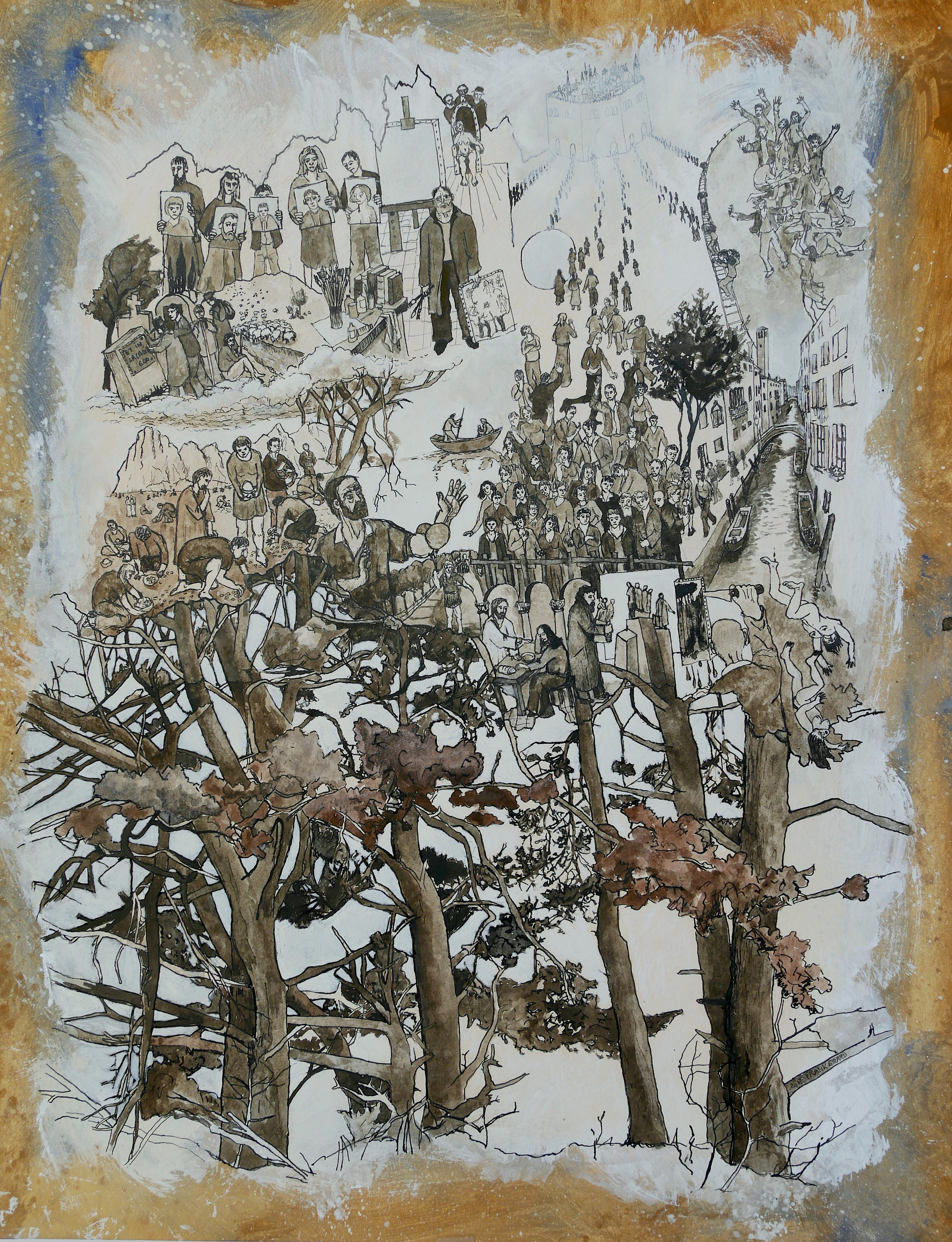 """""""Shepherds of Arcadia """", Trees, Human in Nature, Pigments and Drawing on Paper"""