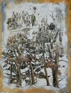 """Shepherds of Arcadia "", Trees, Human in Nature, Drawing and Watercolors"