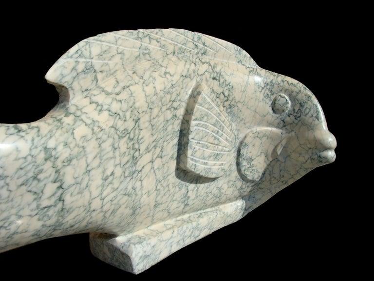 """Ocean Plenitude"", Green-Veined White Carrara Marble Fish Figurative Sculpture For Sale 3"