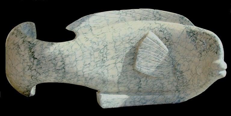 """Ocean Plenitude"", Green-Veined White Carrara Marble Fish Figurative Sculpture For Sale 4"