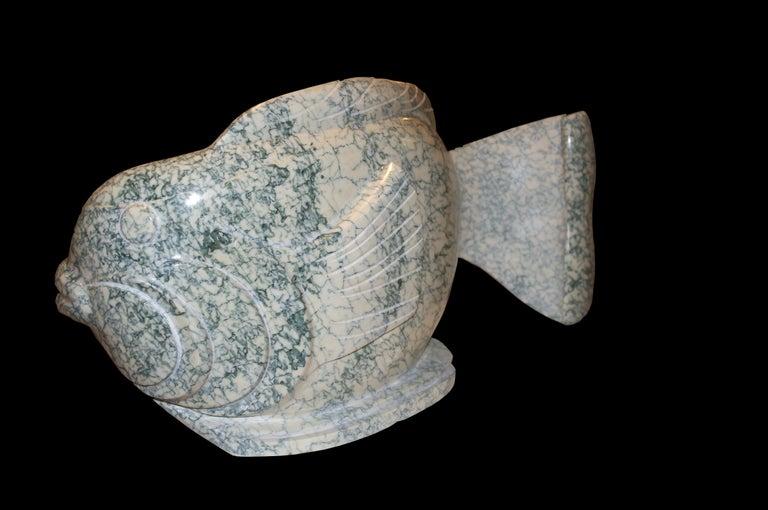 """Ocean Plenitude"", Green-Veined White Carrara Marble Fish Figurative Sculpture For Sale 5"