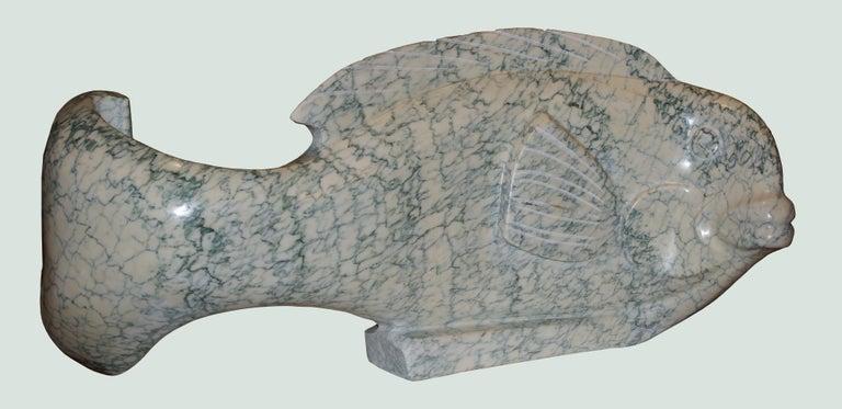 """Ocean Plenitude"", Green-Veined White Carrara Marble Fish Figurative Sculpture For Sale 2"