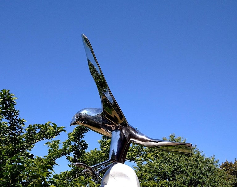 """""""Falcon"""", Monumental Bird Figurative Stainless Steel Sculpture on Marble Base For Sale 7"""