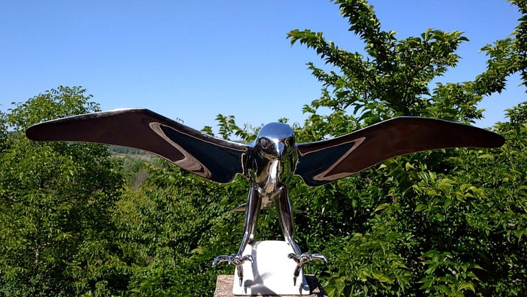 """""""Falcon"""", Monumental Bird Figurative Stainless Steel Sculpture on Marble Base For Sale 6"""