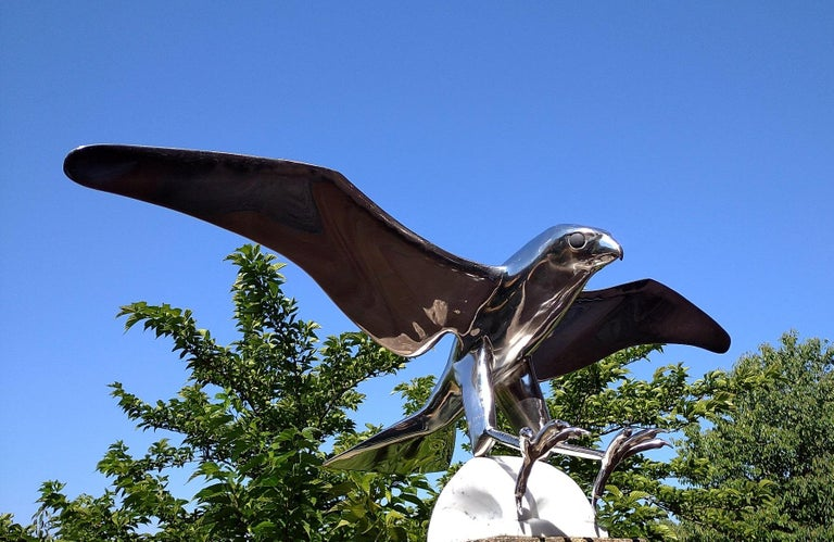 """""""Falcon"""", Monumental Bird Figurative Stainless Steel Sculpture on Marble Base For Sale 5"""