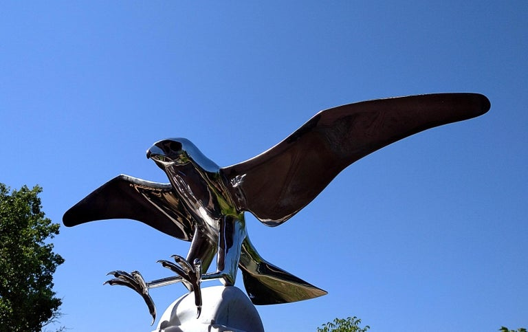 """""""Falcon"""", Monumental Bird Figurative Stainless Steel Sculpture on Marble Base For Sale 3"""