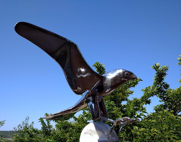 """""""Falcon"""", Monumental Bird Figurative Stainless Steel Sculpture on Marble Base For Sale 8"""