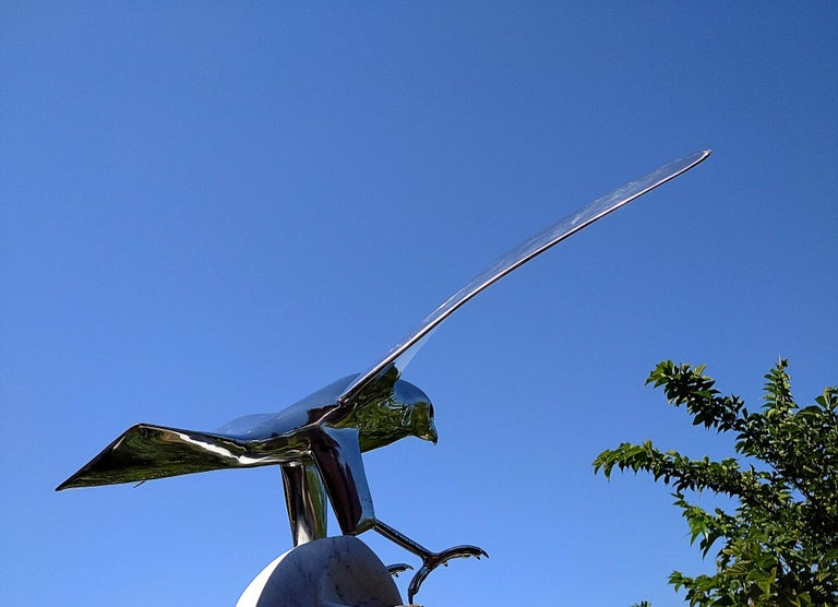 """""""Falcon"""", Monumental Bird Figurative Stainless Steel Sculpture on Marble Base For Sale 4"""