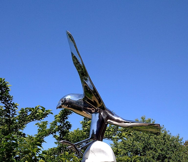 """""""Falcon"""", Monumental Bird Figurative Stainless Steel Sculpture on Marble Base For Sale 10"""