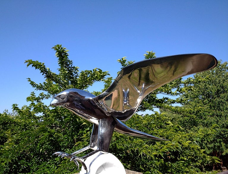 """""""Falcon"""", Monumental Bird Figurative Stainless Steel Sculpture on Marble Base For Sale 2"""