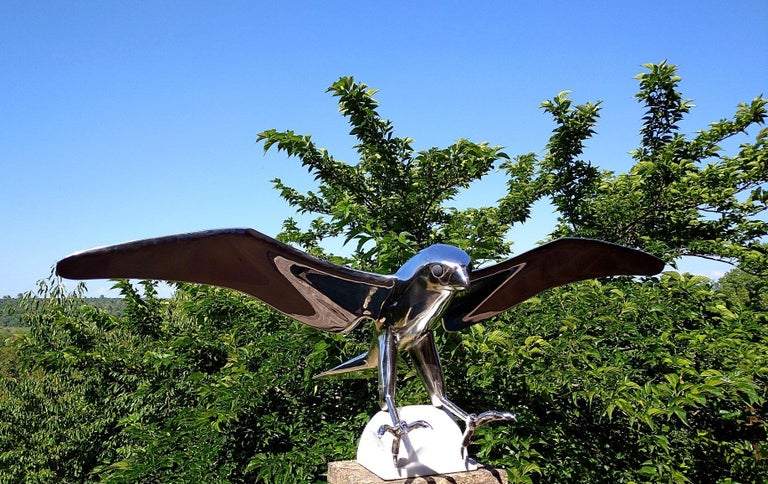 """""""Falcon"""", Monumental Bird Figurative Stainless Steel Sculpture on Marble Base For Sale 13"""