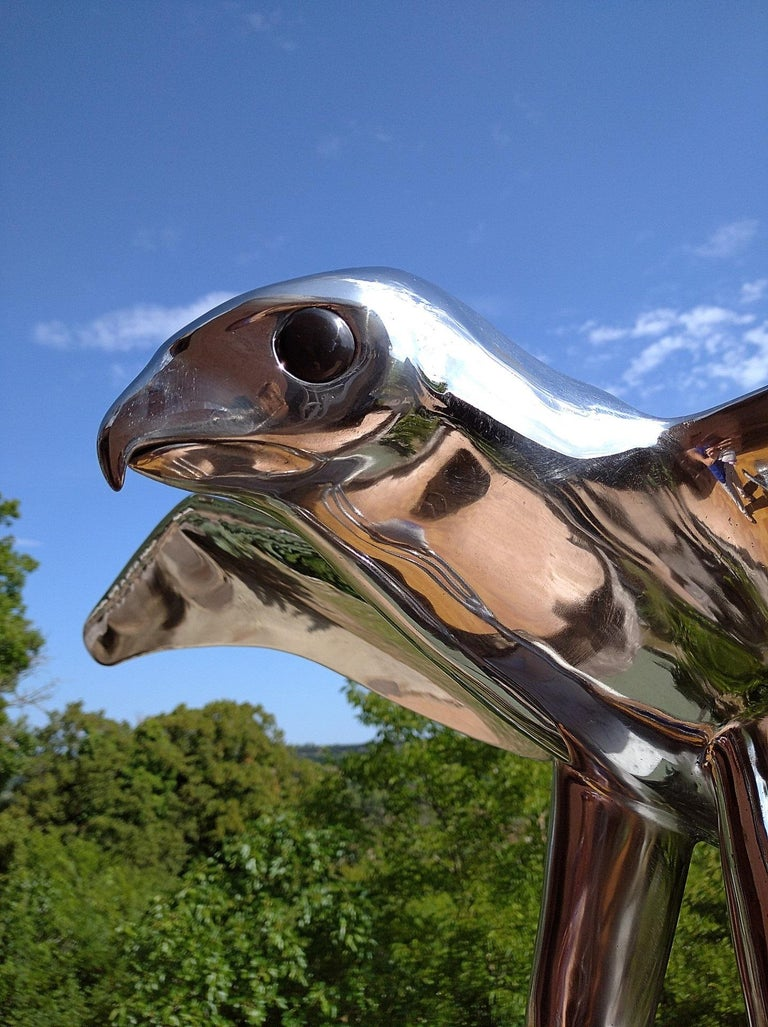 """""""Falcon"""", Monumental Bird Figurative Stainless Steel Sculpture on Marble Base For Sale 14"""