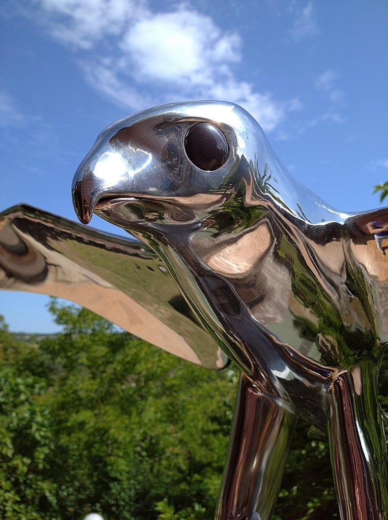 """""""Falcon"""", Monumental Bird Figurative Stainless Steel Sculpture on Marble Base For Sale 1"""