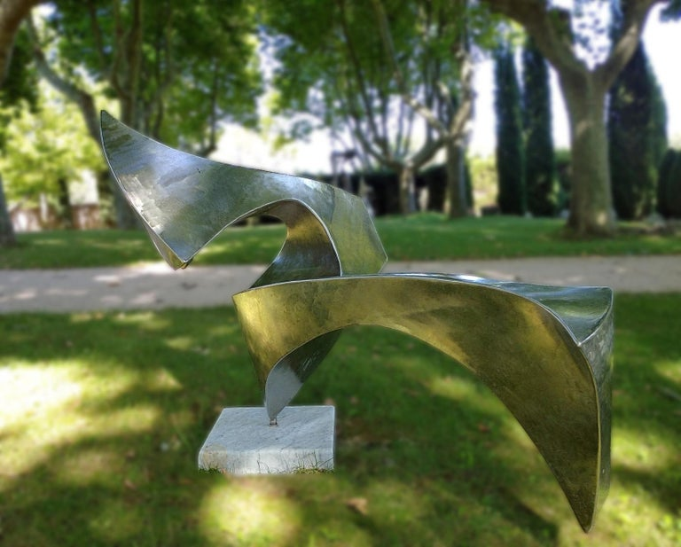 """""""Swan"""", Wave Effect Stainless Steel Monumental Abstract Sculpture on Marble Base For Sale 2"""