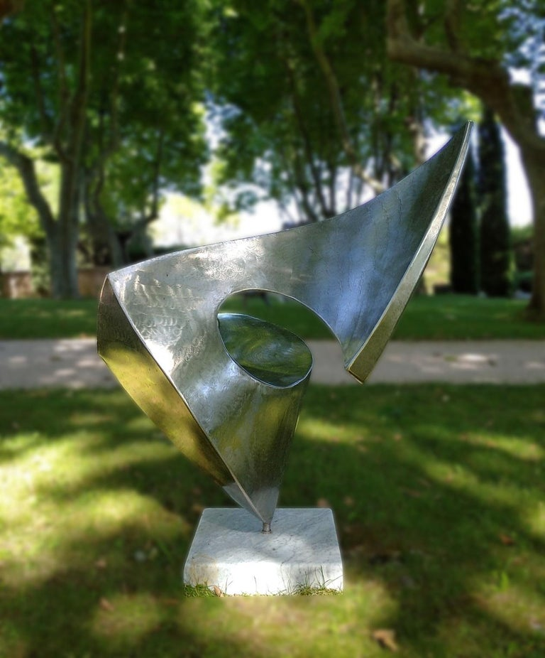 """""""Swan"""", Wave Effect Stainless Steel Monumental Abstract Sculpture on Marble Base For Sale 3"""