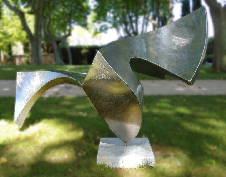 """""""Swan"""", Wave Effect Stainless Steel Monumental Abstract Sculpture on Marble Base For Sale 4"""