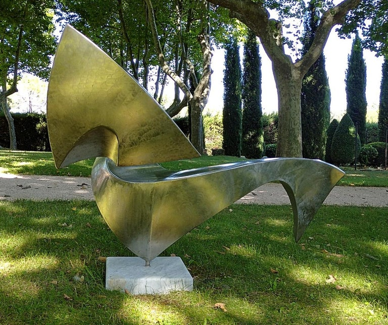 """""""Swan"""", Wave Effect Stainless Steel Monumental Abstract Sculpture on Marble Base For Sale 5"""