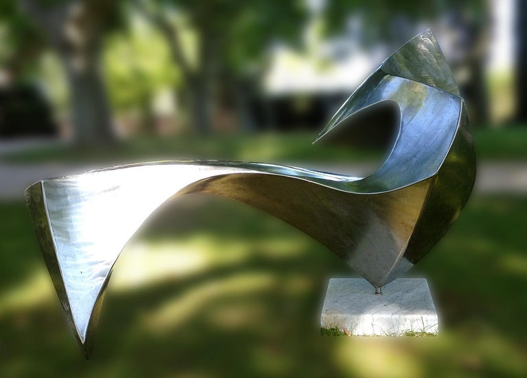 """""""Swan"""", Wave Effect Stainless Steel Monumental Abstract Sculpture on Marble Base For Sale 6"""