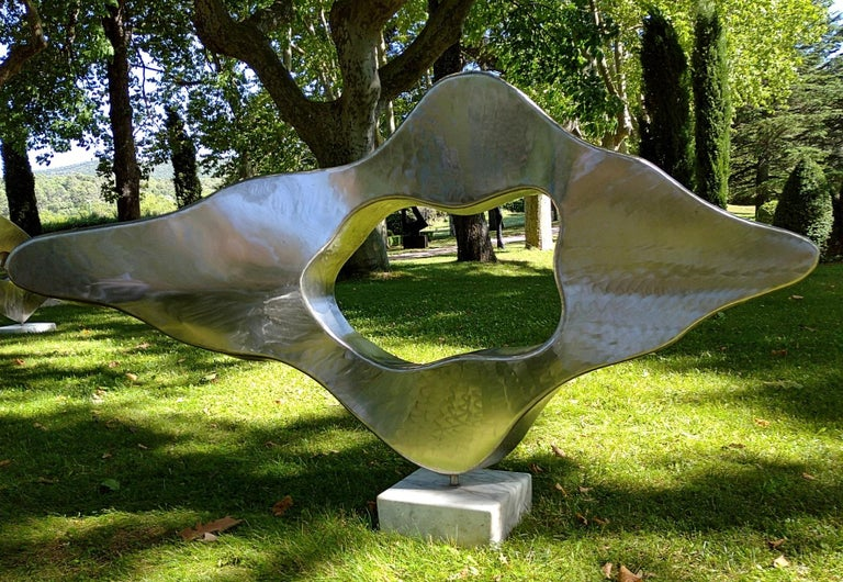 """""""Cloud"""", Stainless Steel Monumental Abstract Sculpture on White Marble Base For Sale 1"""