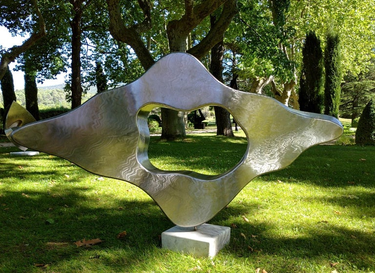 """""""Cloud"""", Stainless Steel Monumental Abstract Sculpture on White Marble Base For Sale 4"""
