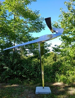 """""""Arabesque"""", Stainless Steel Monumental abstract Sculpture on White Marble Base"""