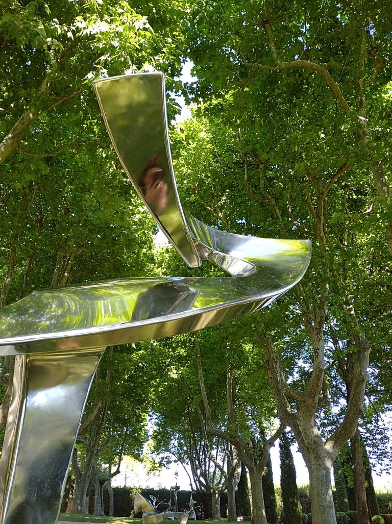"""""""Arabesque"""", Stainless Steel Monumental abstract Sculpture on White Marble Base For Sale 7"""