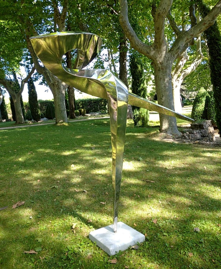 """""""Arabesque"""", Stainless Steel Monumental abstract Sculpture on White Marble Base For Sale 8"""
