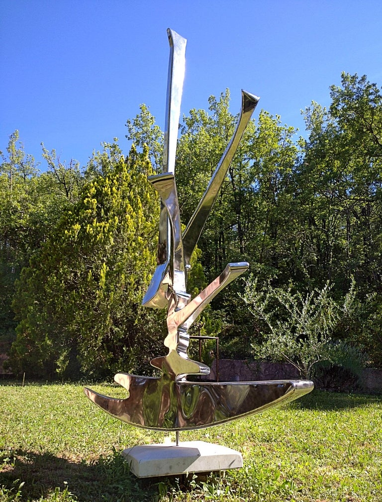 """Sparkles"", Stainless Steel Monumental Abstract Sculpture on White Marble Base For Sale 2"