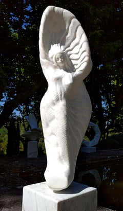 Celeste, White Carrara Marble Standing Female Silhouette Figurative Sculpture