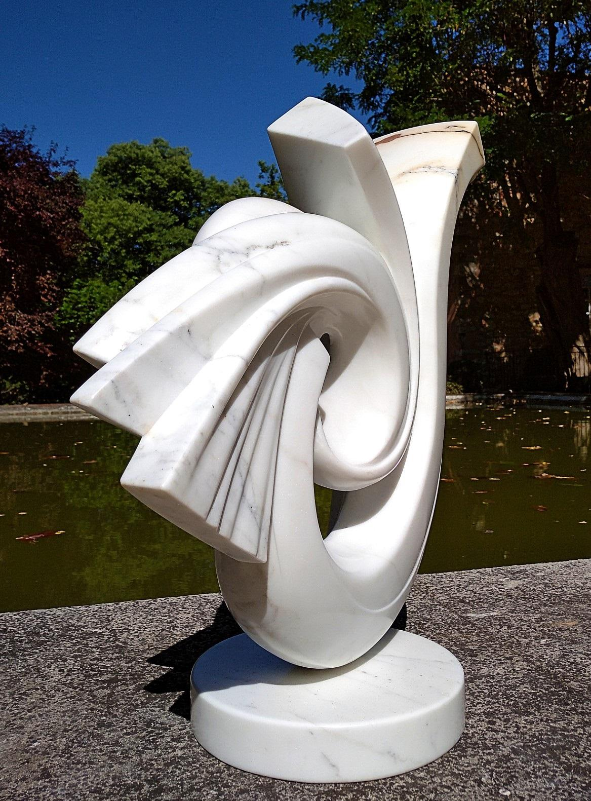 Cycles, White Carrara Statuary Marble Abstract Sculpture