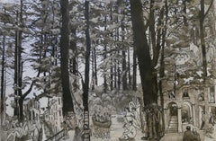 """Della Vigna"", Trees Inhabited by Human, Chinese Ink and Wash Drawing on Paper"