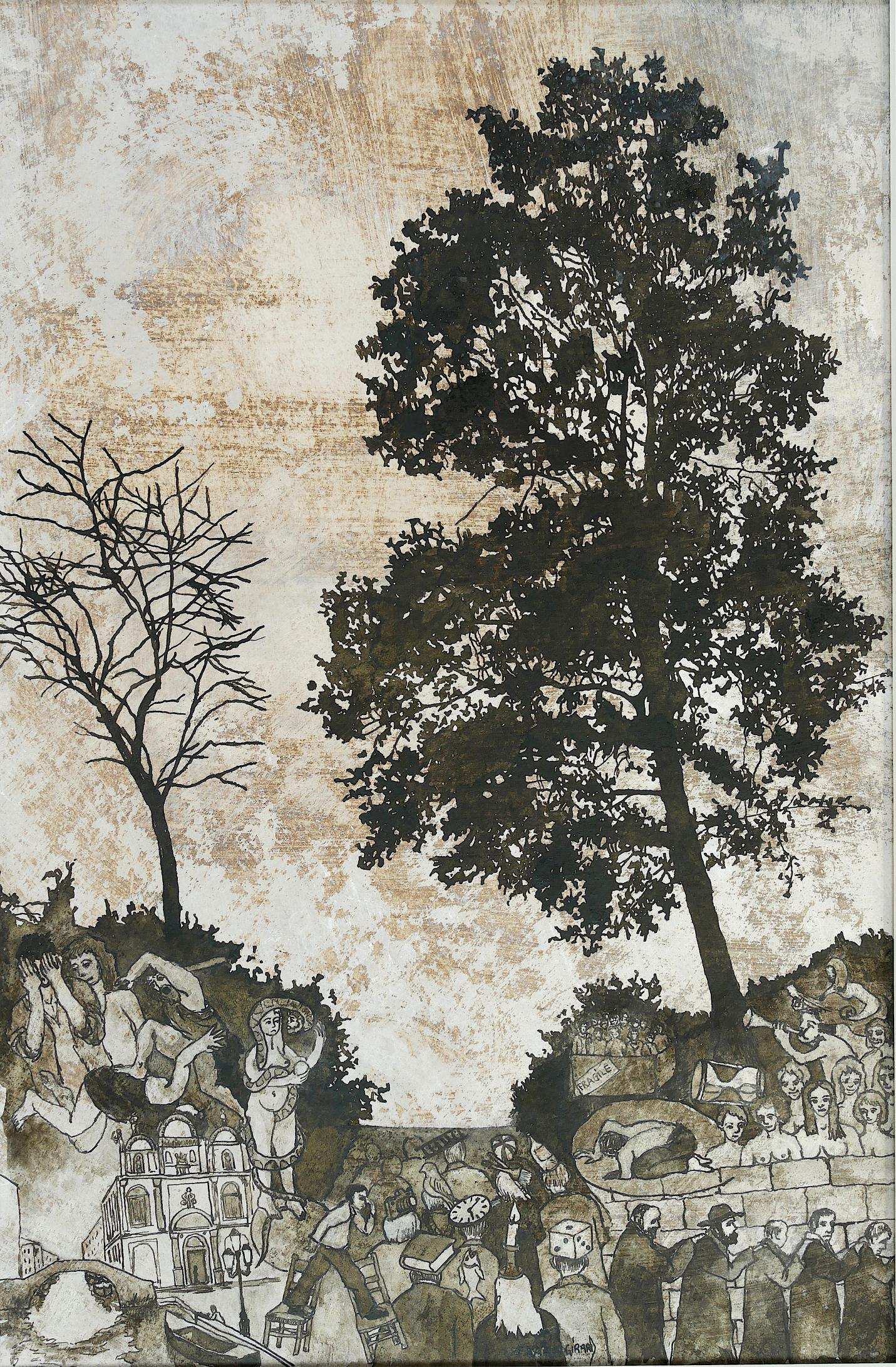 """""""The Small Collar"""", Trees Inhabited by Human, Paper Drawing with Pigment Colors"""