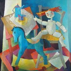 """Memory"", Wood Marionette, Rocking Horse, Blue Orange Yellow Figurative Painting"