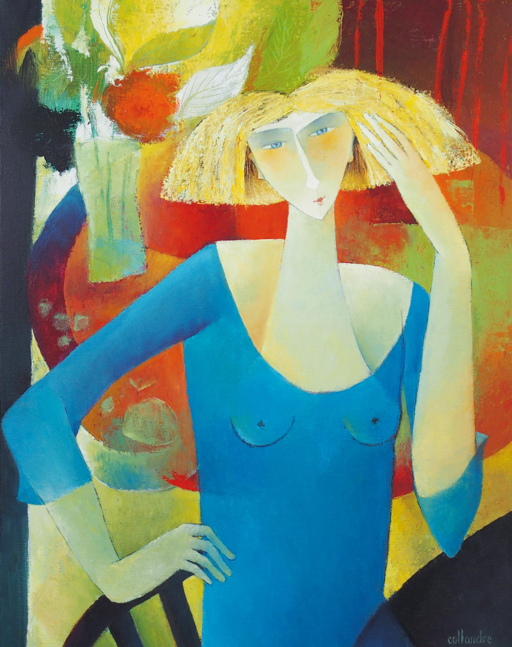"""""""Thoughtful"""", Blond Woman in Blue in front of a Bouquet Figurative Painting"""