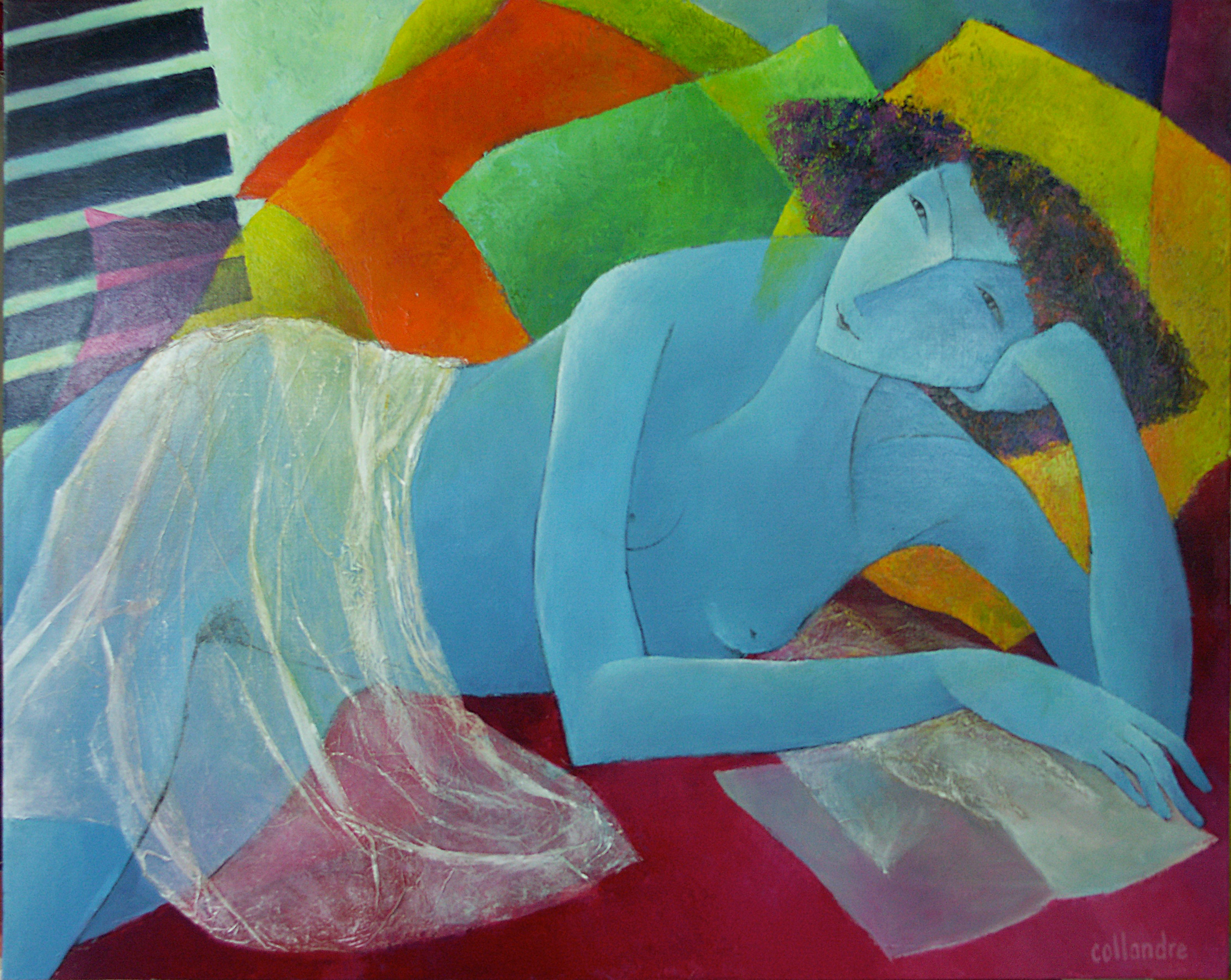 """""""The Day Rises"""", Nude Laying Woman in Transparent Cloth Figurative Painting"""