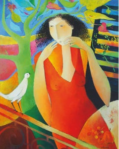 """I announce the Spring"", White Bird Facing Woman in Red, Figurative Painting"