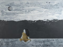 """""""Tell me, the Moon !"""",  Sitting Child in Golden, Blank & White Acrylic Painting"""