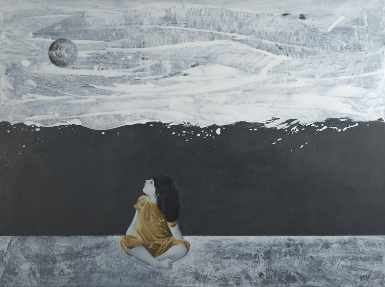 """Françoise Duprat Figurative Painting - """"Tell me, the Moon !"""",  Sitting Child in Golden, Blank & White Acrylic Painting"""