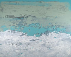 """Groundswell"", Minimalist Abstract Marine Landscape Turquoise Acrylic Painting"
