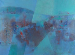 """Here & There"", Abstract Marine Landscape Turquoise & Red Touch Oil Painting"