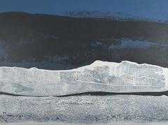"""Somewhere Else"",  Royal Blue, Black & White Abstract Landscape Acrylic Painting"