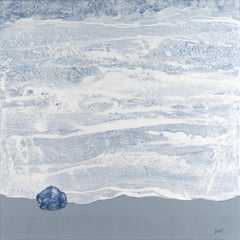 """Blue Pebble"", Grey & White Abstract Marine Landscape Acrylic Painting"