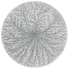 """Fractal 2"", Vertical Fractal-Like Growth Structures Circular Ink Drawing"