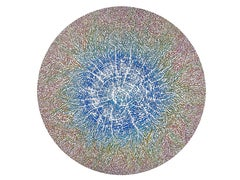 """""""Growing"""", Blue Concentric to Red Radial Ways Circular Abstract Acrylic Painting"""