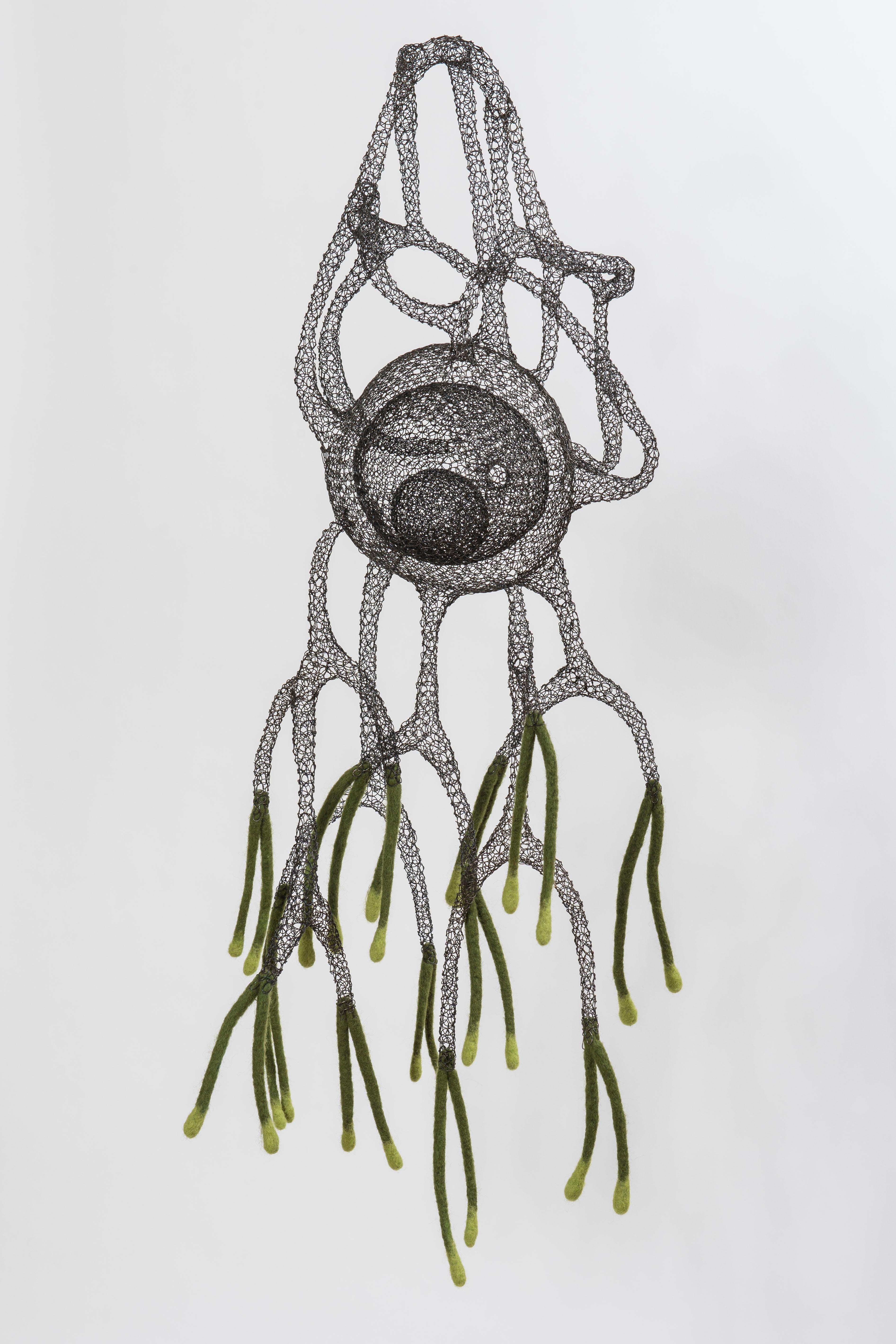 """Saghiaki"", Transparent Airy Handmade Metal Wire and Wool Pendant Mesh Sculpture"