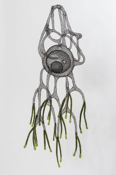 """Saghiaki"", Transparent Airy Handmade Metal Wire and Wool Pendant Mesh Sculpture"