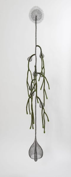 «Liane», Airy Handmade Metal Wire Mesh and Green Wool Pendant Mural Sculpture