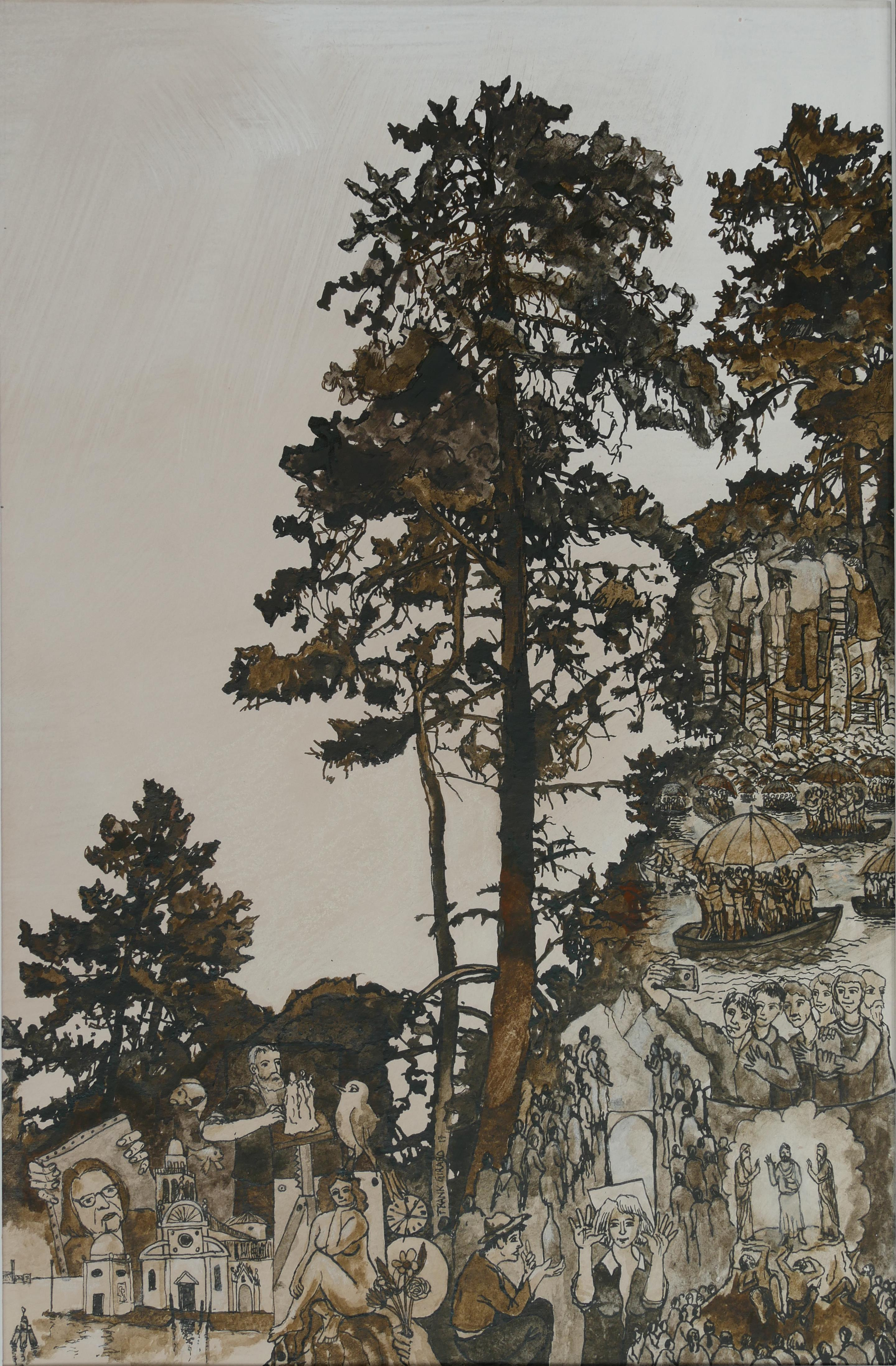 """""""San Michele Di Venezia"""", Trees Inhabited by Human, Paper Drawing with Pigments"""