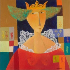 """Chess — The Queen"", Crowned Woman in Red with Ruff, Figurative Acrylic Painting"
